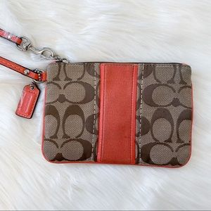 Coach Coral Pink Signature Striped Wristlet